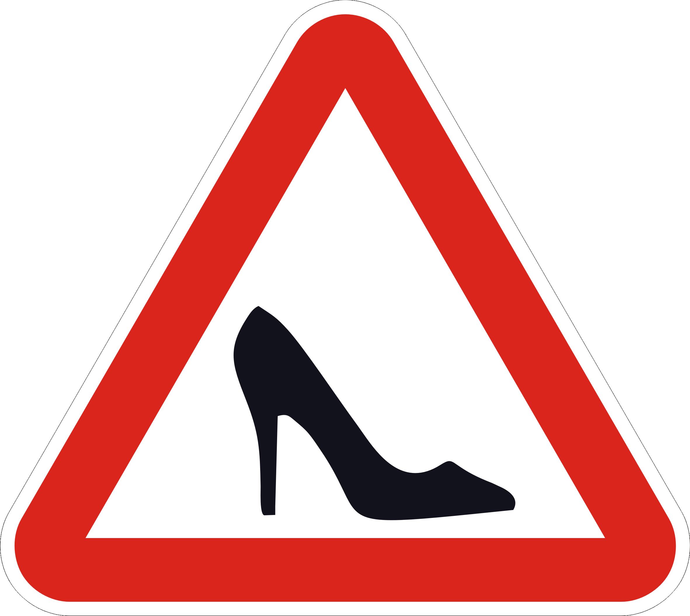 знак туфелька, знак женщина за рулем
