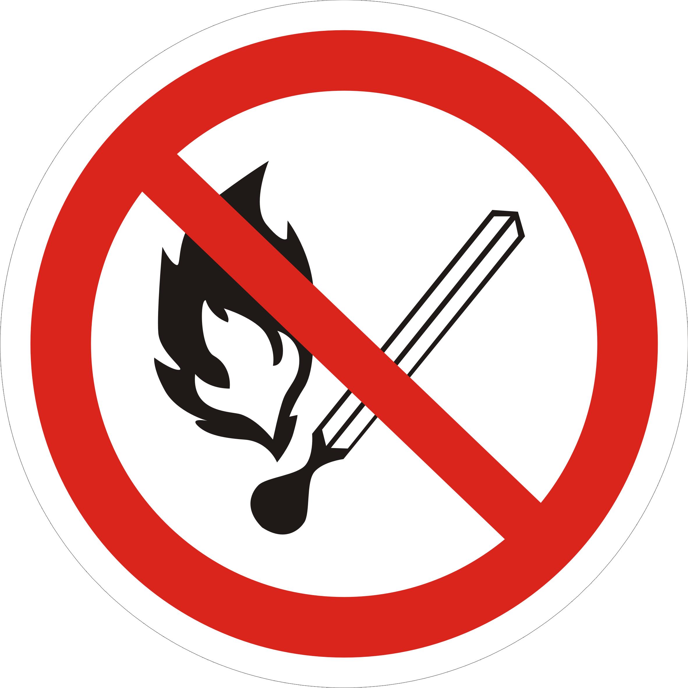 Знак запрещено зажигать огонь