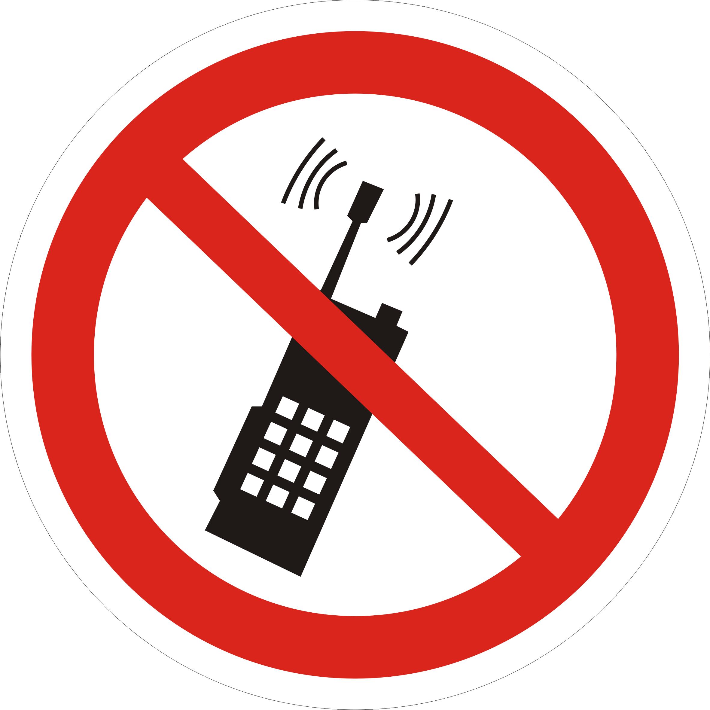 """знак """"запрещено пользоваться мобильным телефоном"""""""