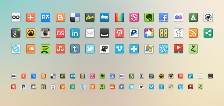 цветные иконки социальных сетей