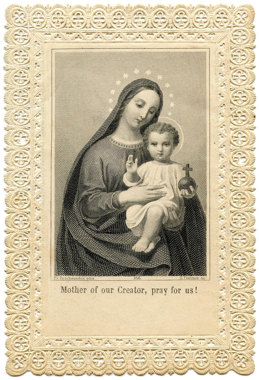 Мадонна с младенцем. Открытка.