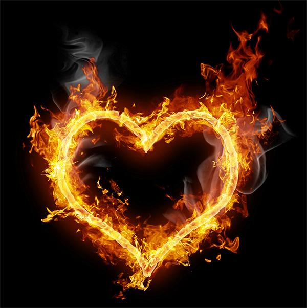 сердце из огня png