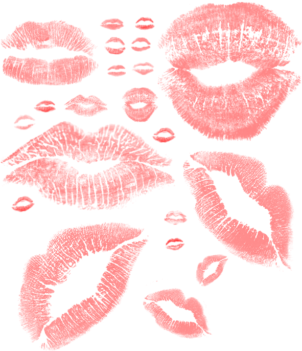 "Кисти для фотошопа ""Поцелуи, след от помады"""