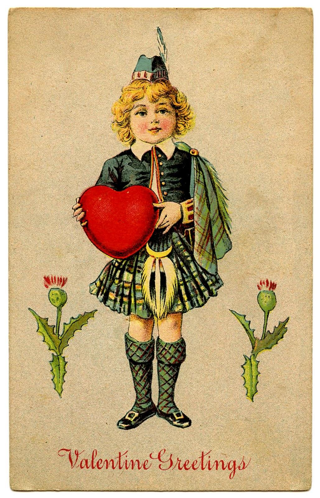Мальчик в шотландской национальной одежде с сердцем в руках - валентинка