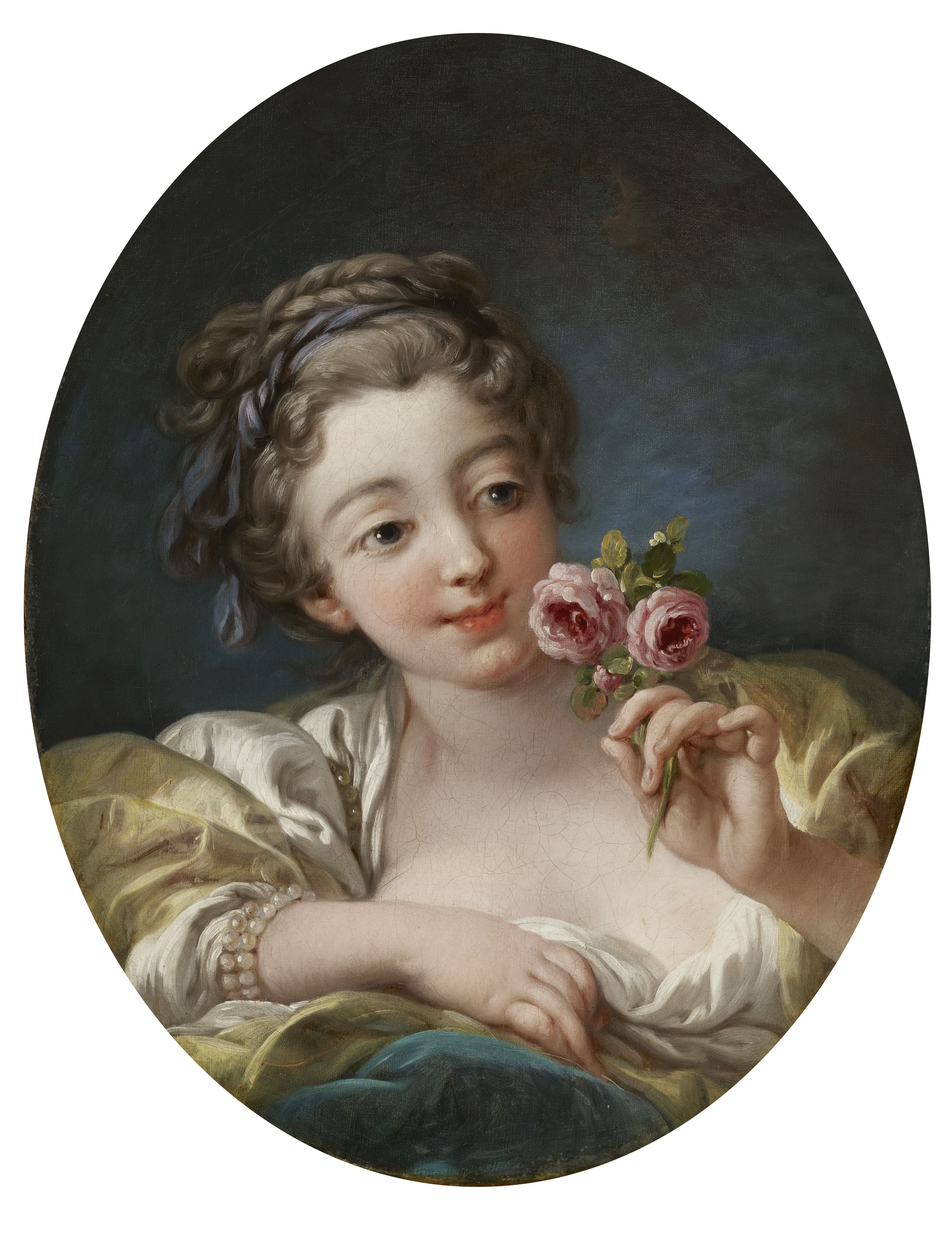 Девушка с розой Франсуа Буше