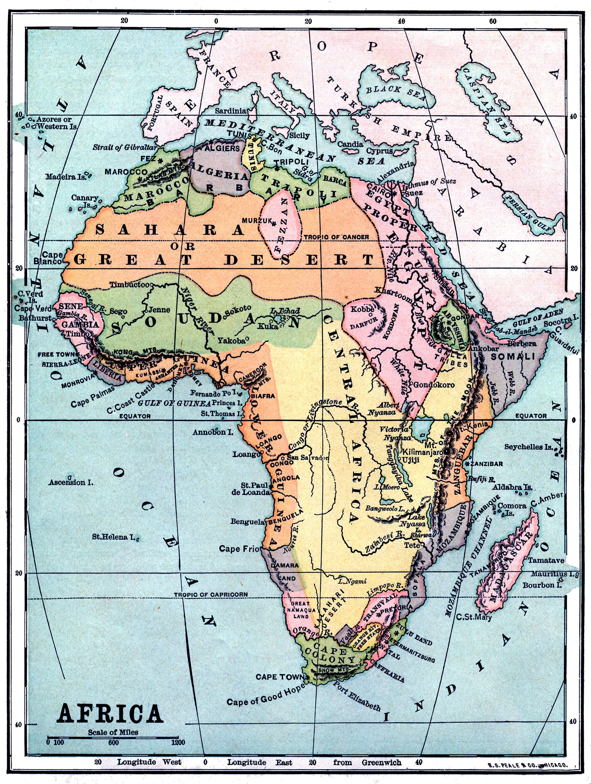 Винтажная карта Африки