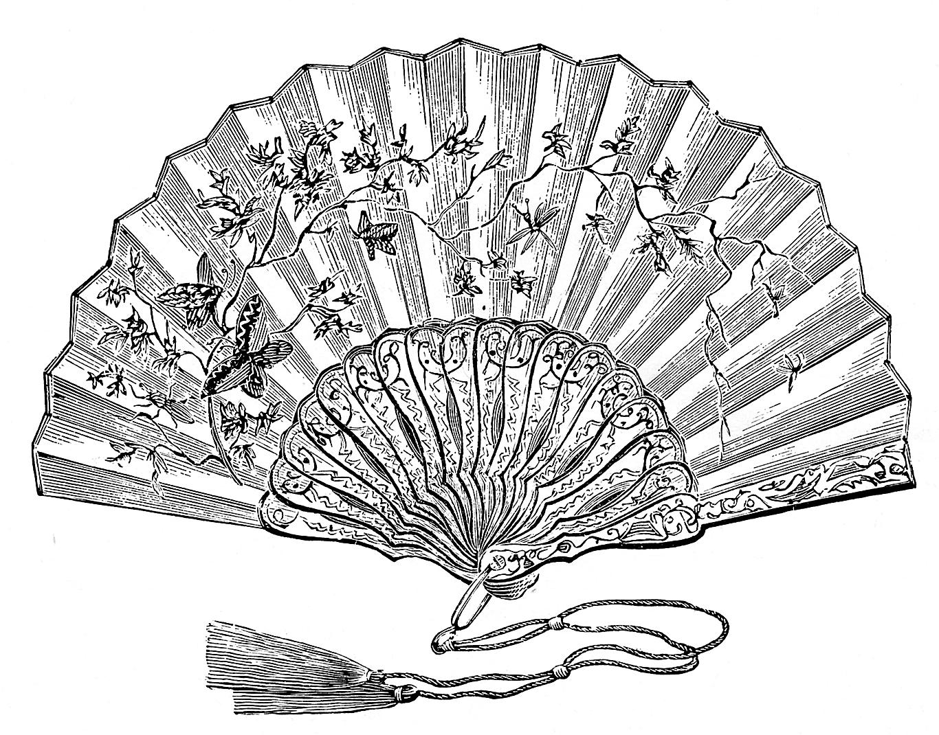 Винтажная гравюра (рисунок) веер.