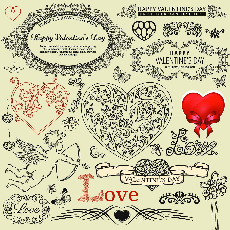 Элементы оформления валентинки (винтаж)