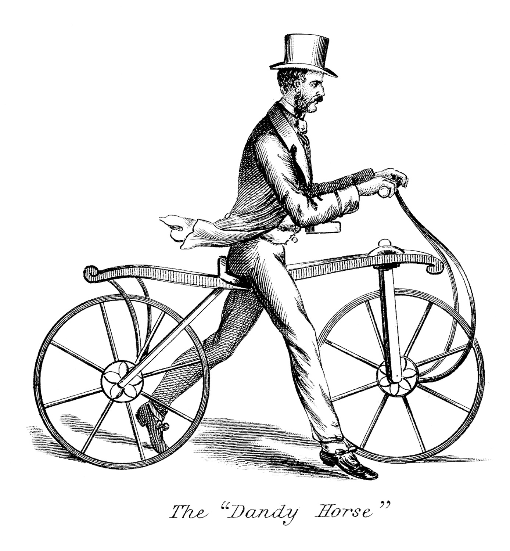 Джентльмен со старинным велосипедом