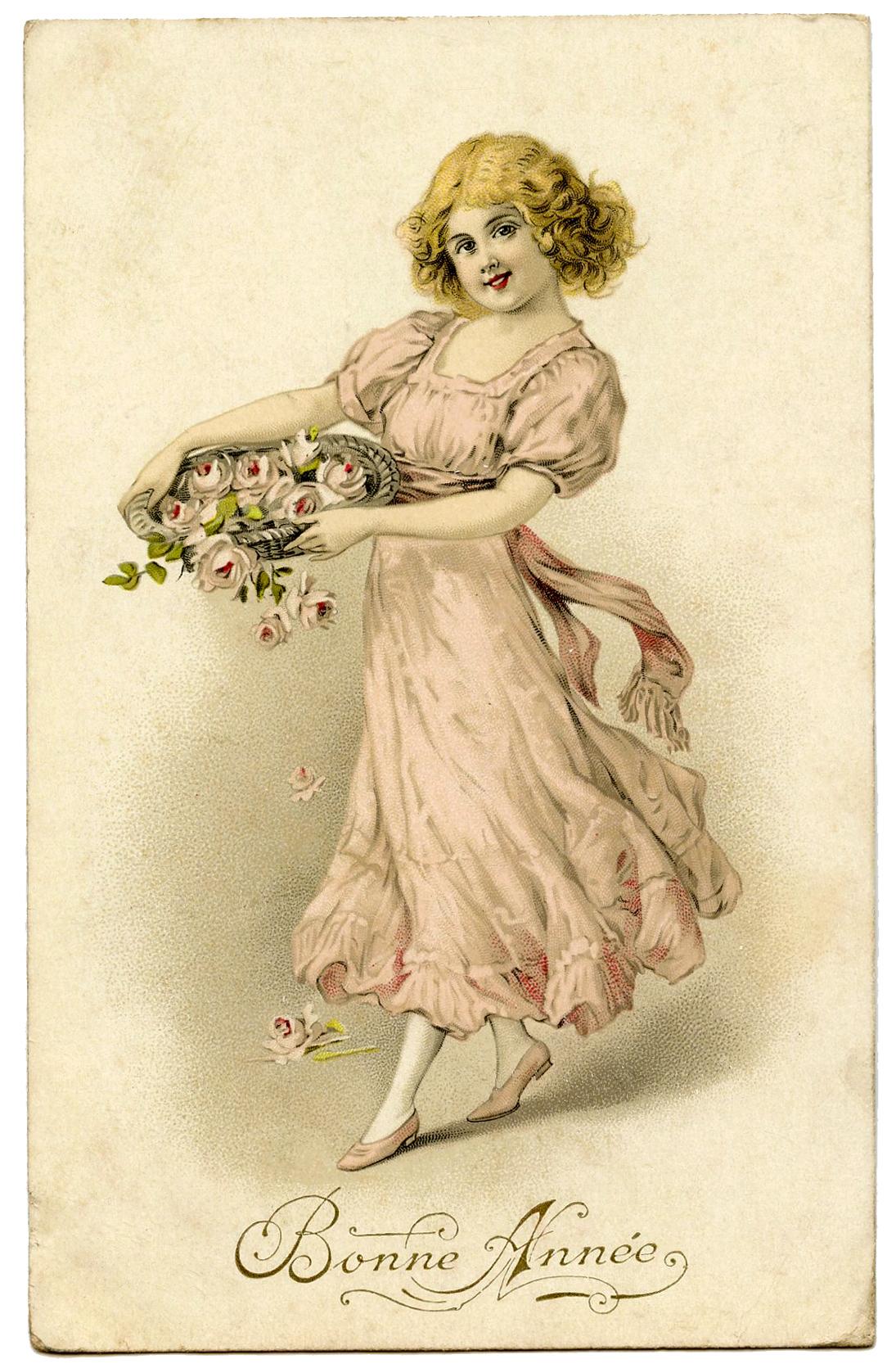 """Винтажная открытка """"Девушка с цветами"""""""