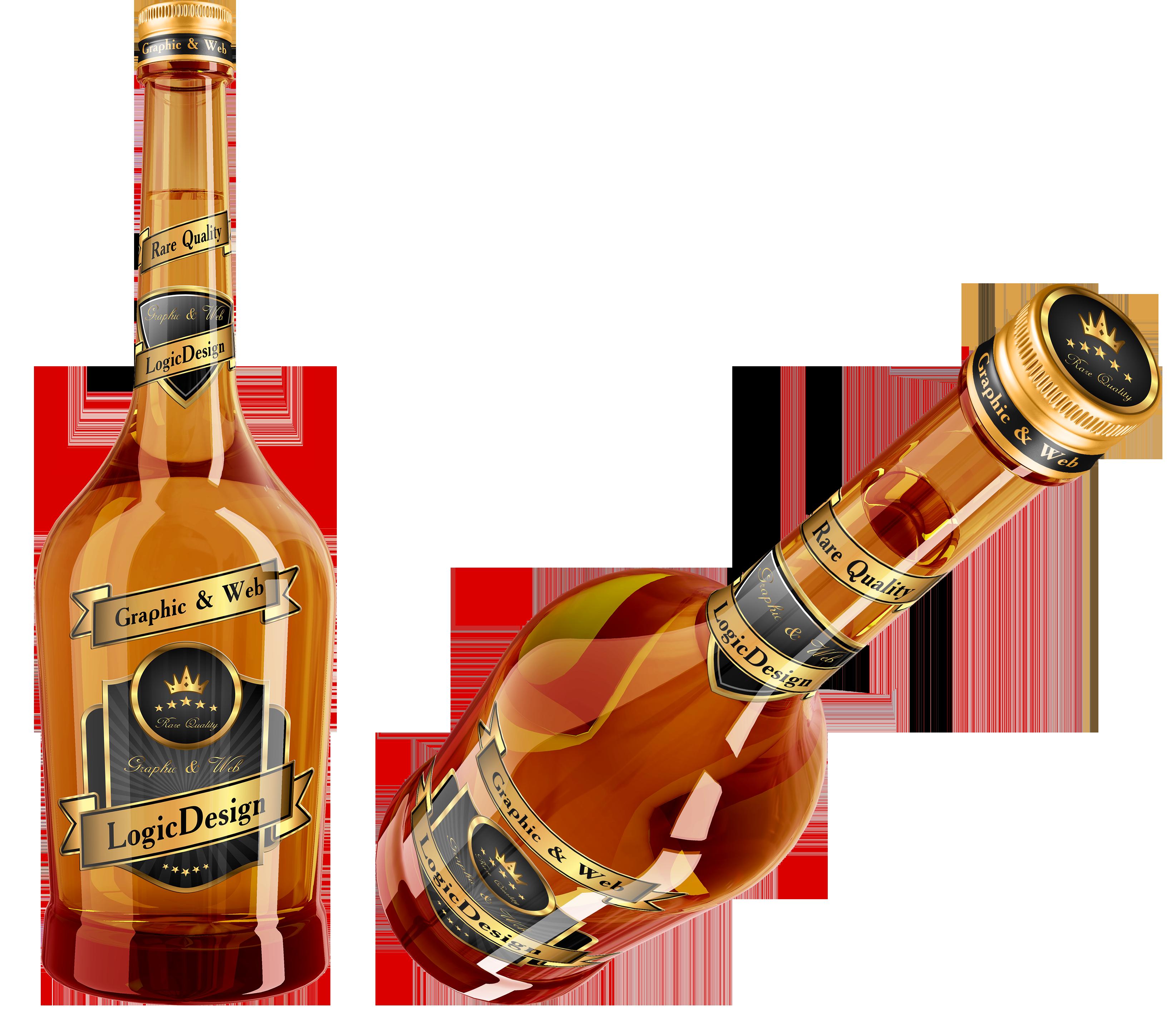 Бутыли с виски и коньяком
