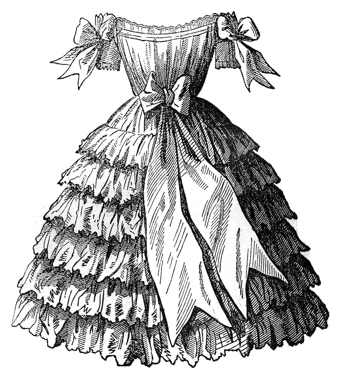 """Платье викторианской моды из книги 1855 года """"Godey's Ladies Book"""""""