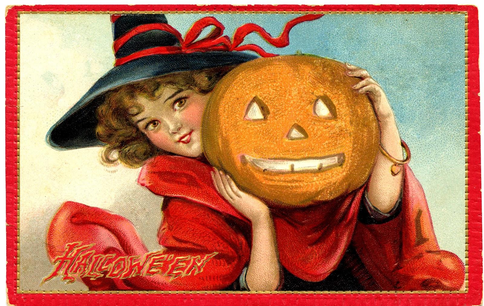 Винтажная открытка с ведьмочкой и тыквой на хэллоуин