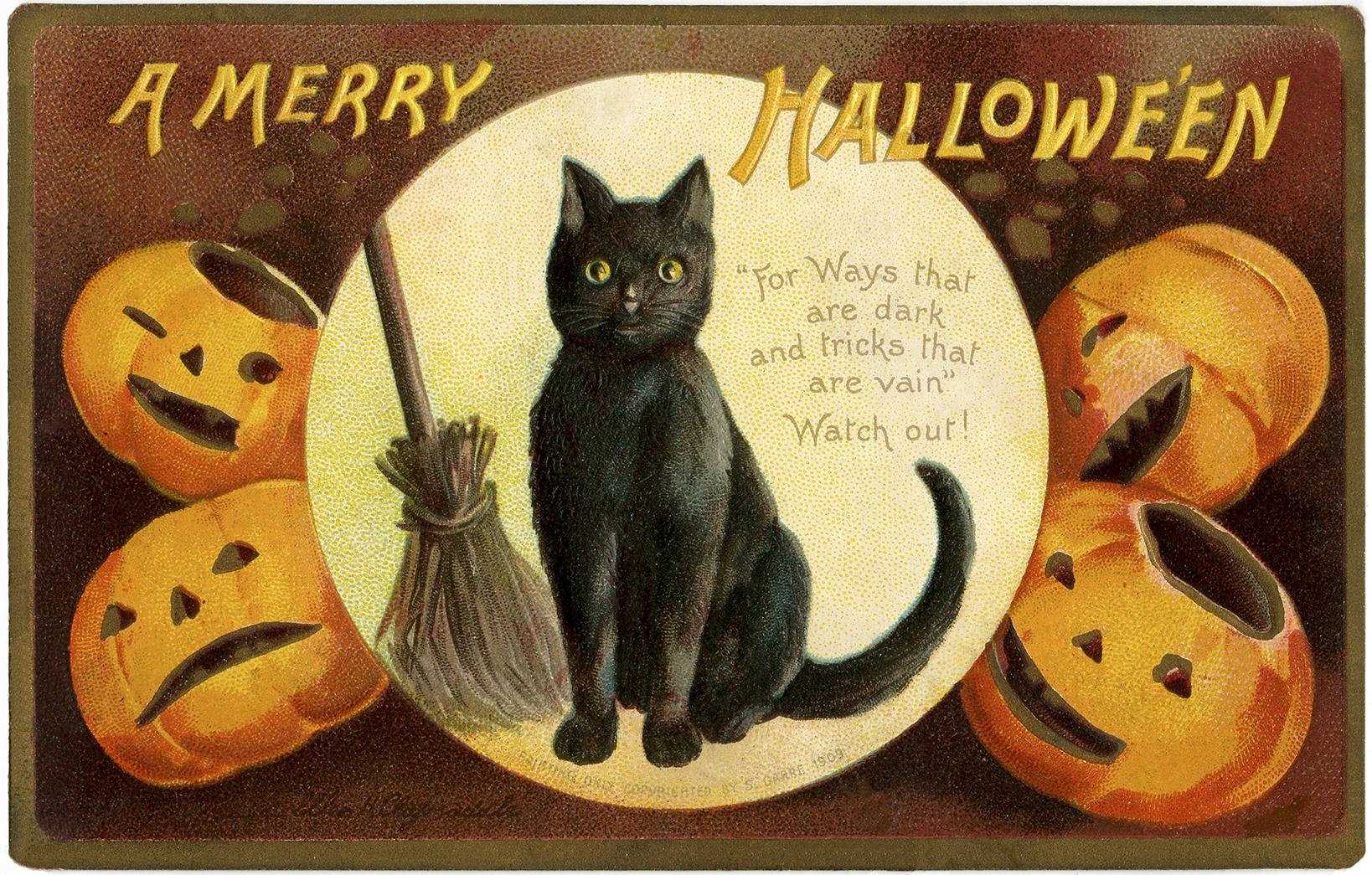 Винтажная открытка на хэллоуин с черным котом, метлой и тыквами