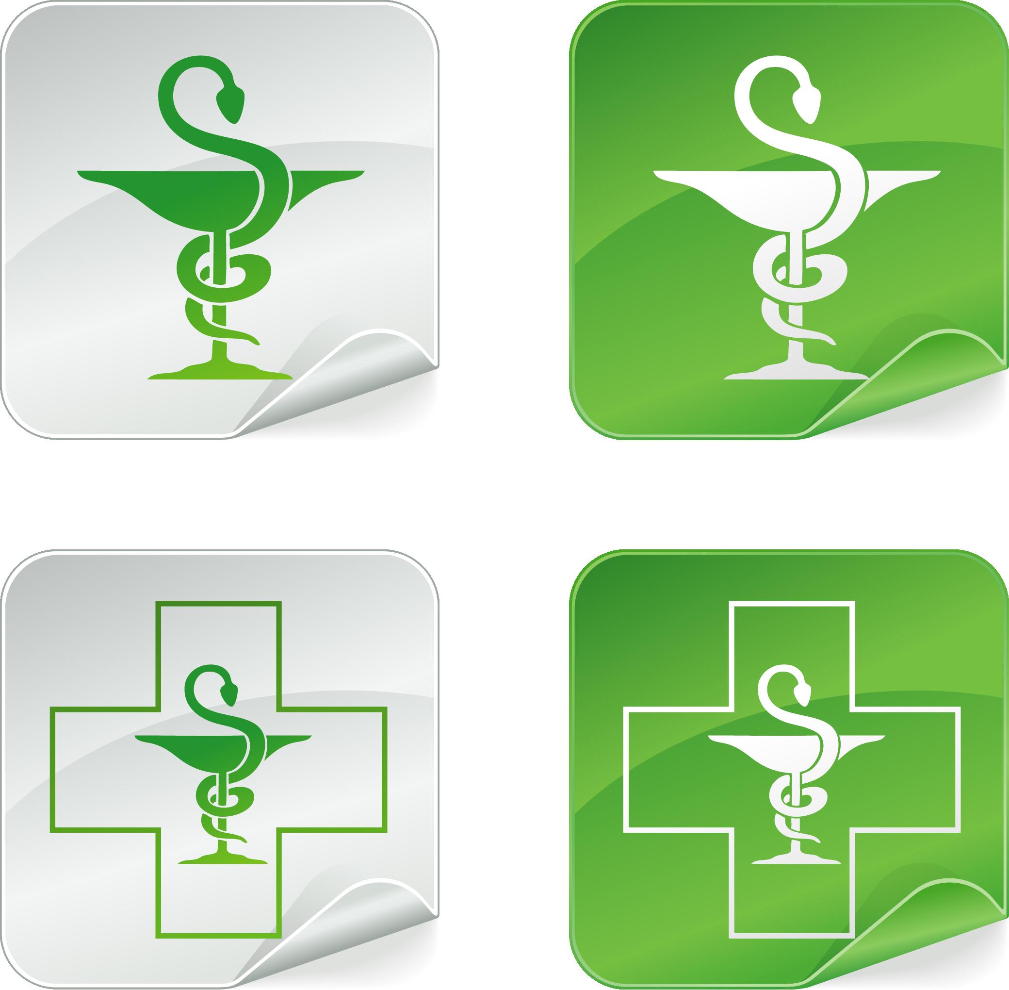 Аптечные змея и крест векторные
