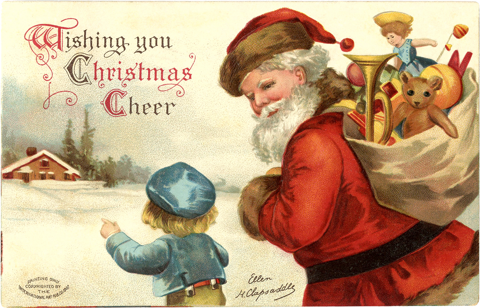 """Рождественская винтажная открытка """"Санта с подарками и ребенок"""""""
