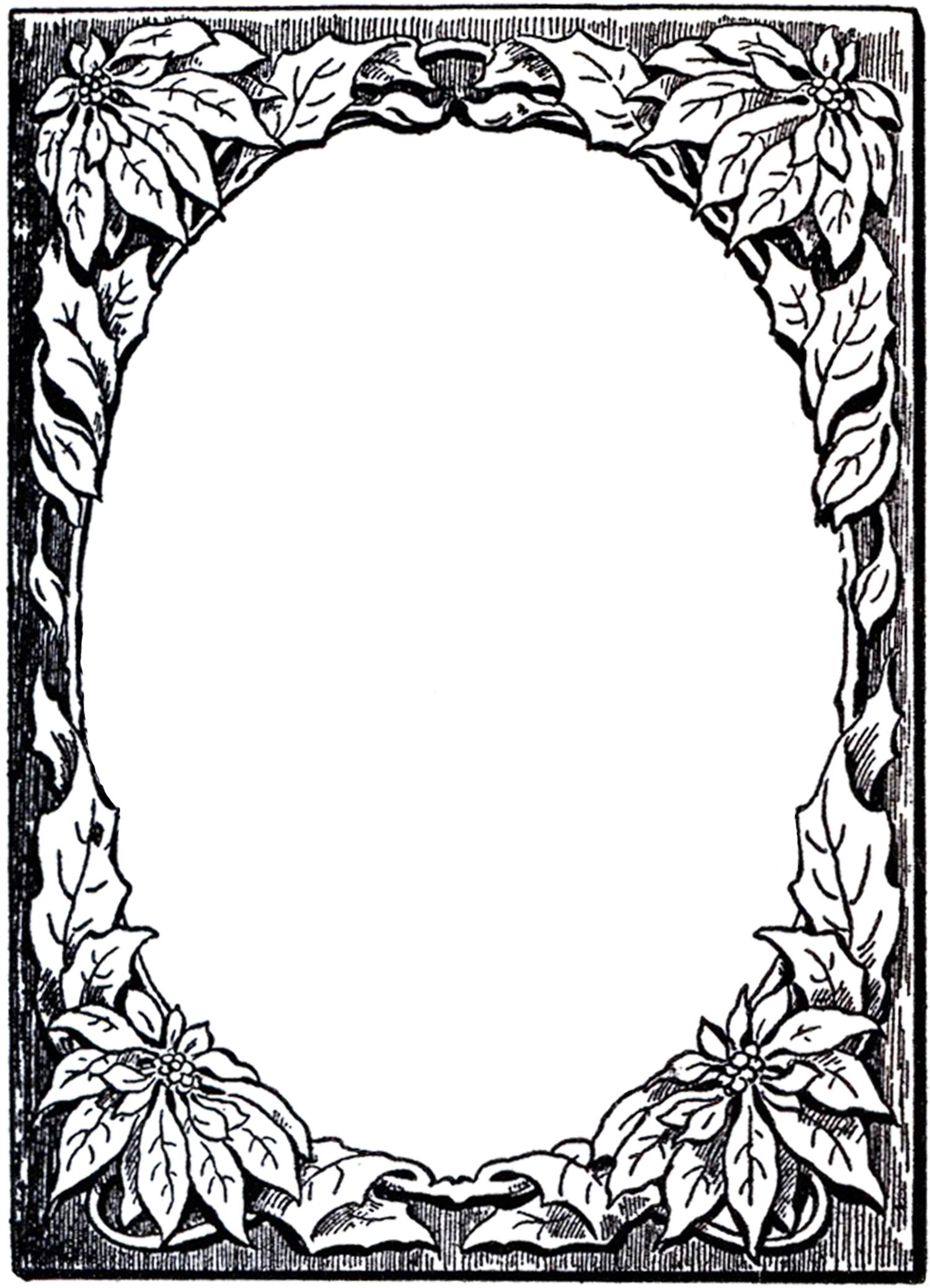 Овальная черно-белая рамка из листьев