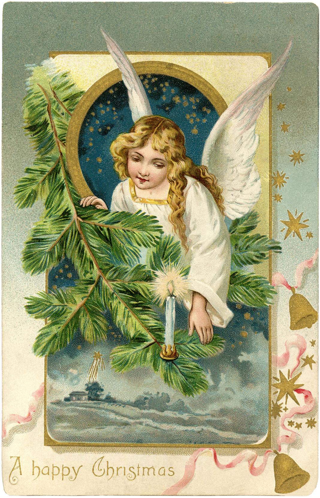 Ангел - винтажная открытка на Рождество