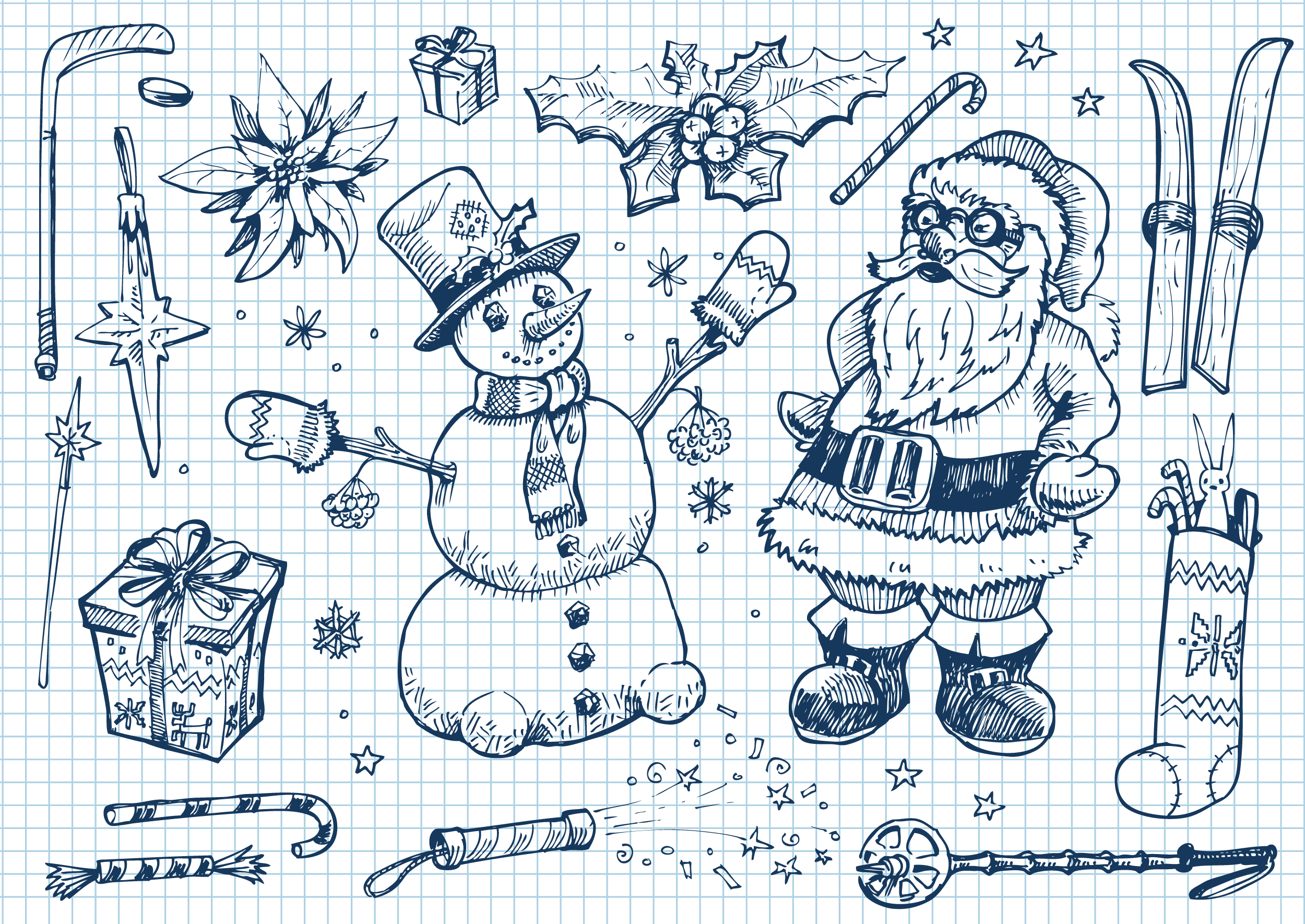 Новогодние рисунки ручкой