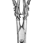 Изящные ножницы - винтажный черно-белый рисунок (в формате png с прозрачным фоном)