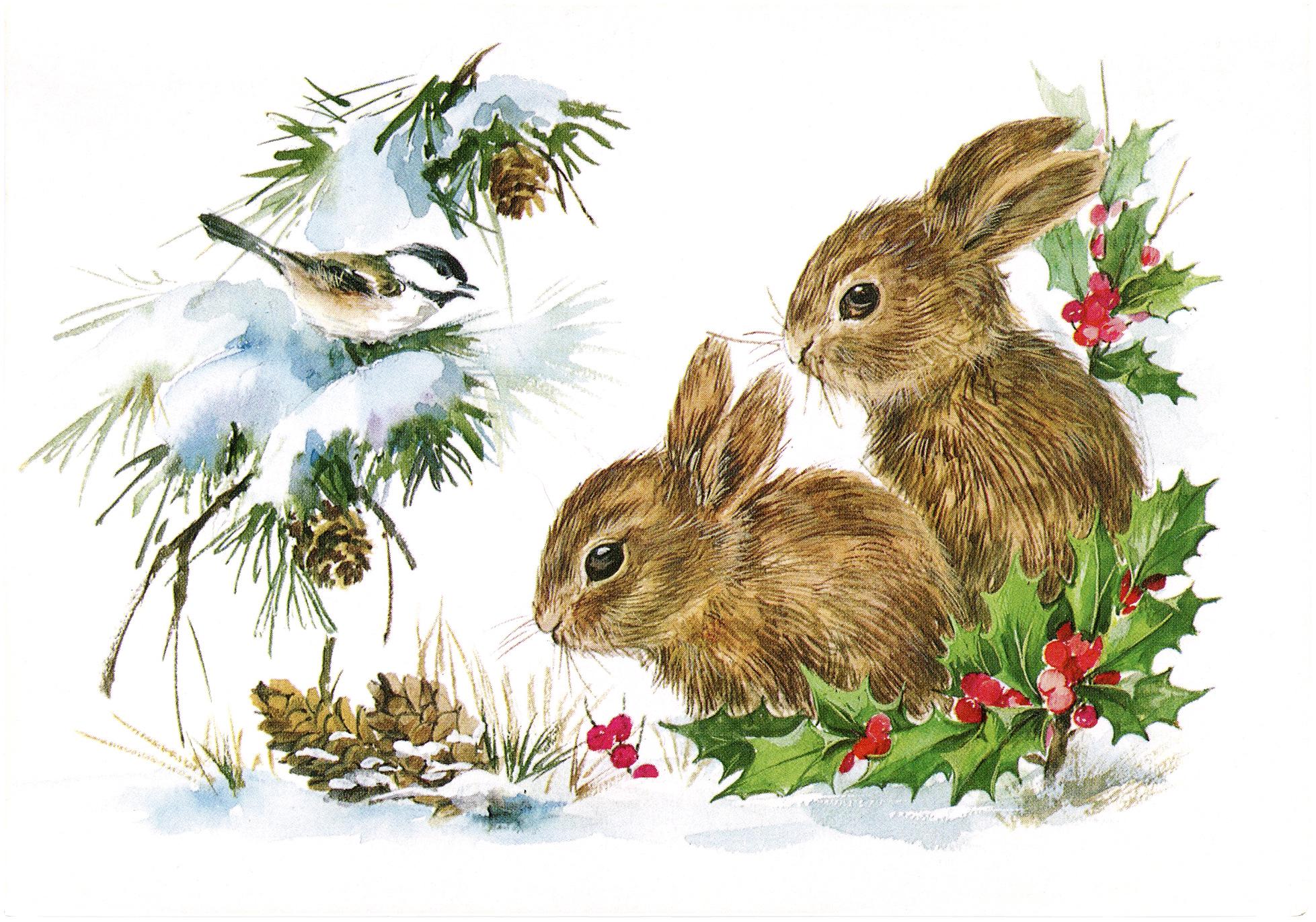 """Рождественская открытка """"Зайчики (кролики) и птичка в снегу"""""""