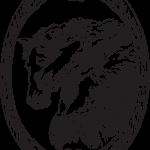 Три лошади в овальной рамке - винтажный рисунок в формате jpg и векторный eps