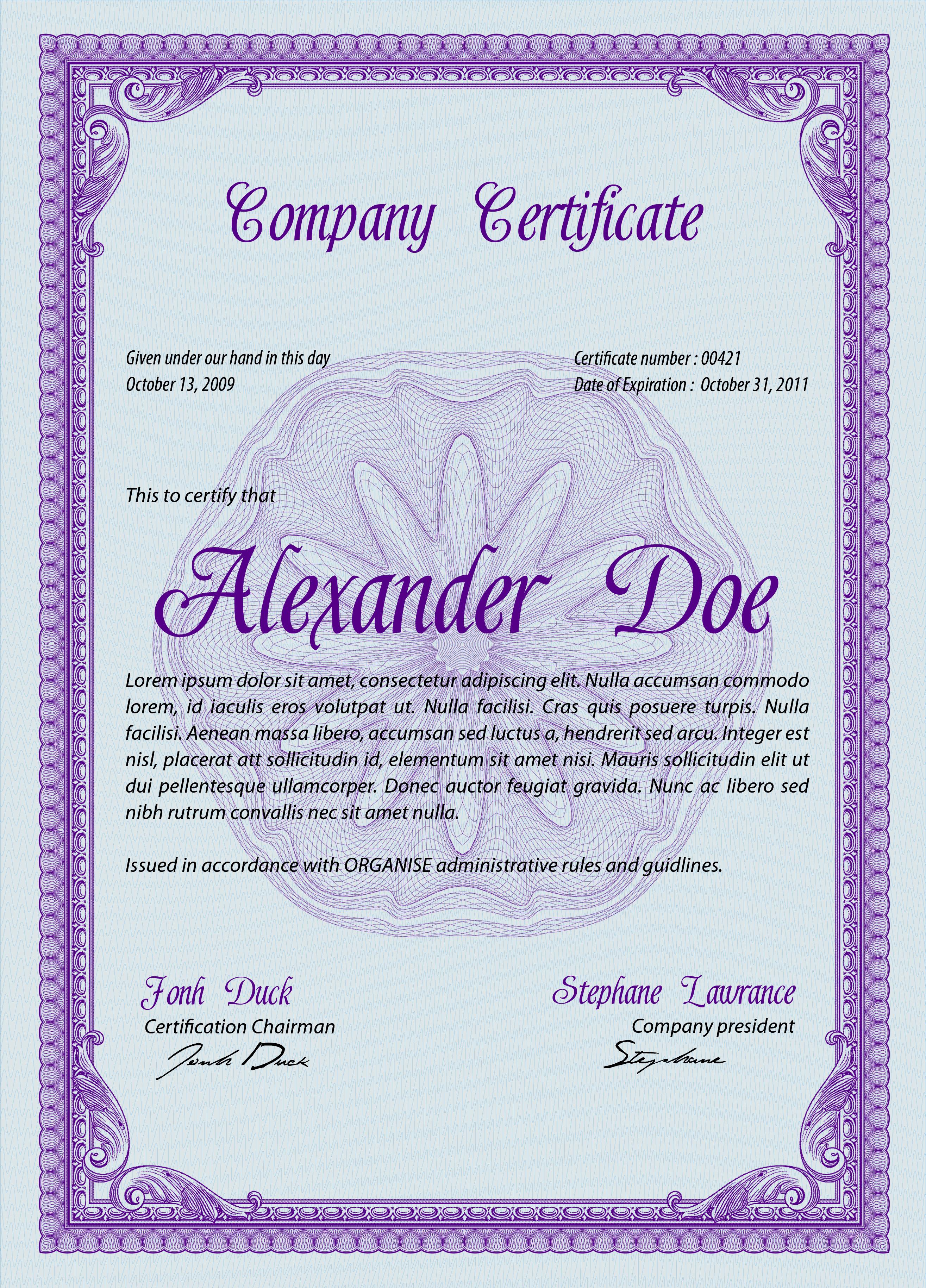 Шаблон вертикального сертификата в формате psd