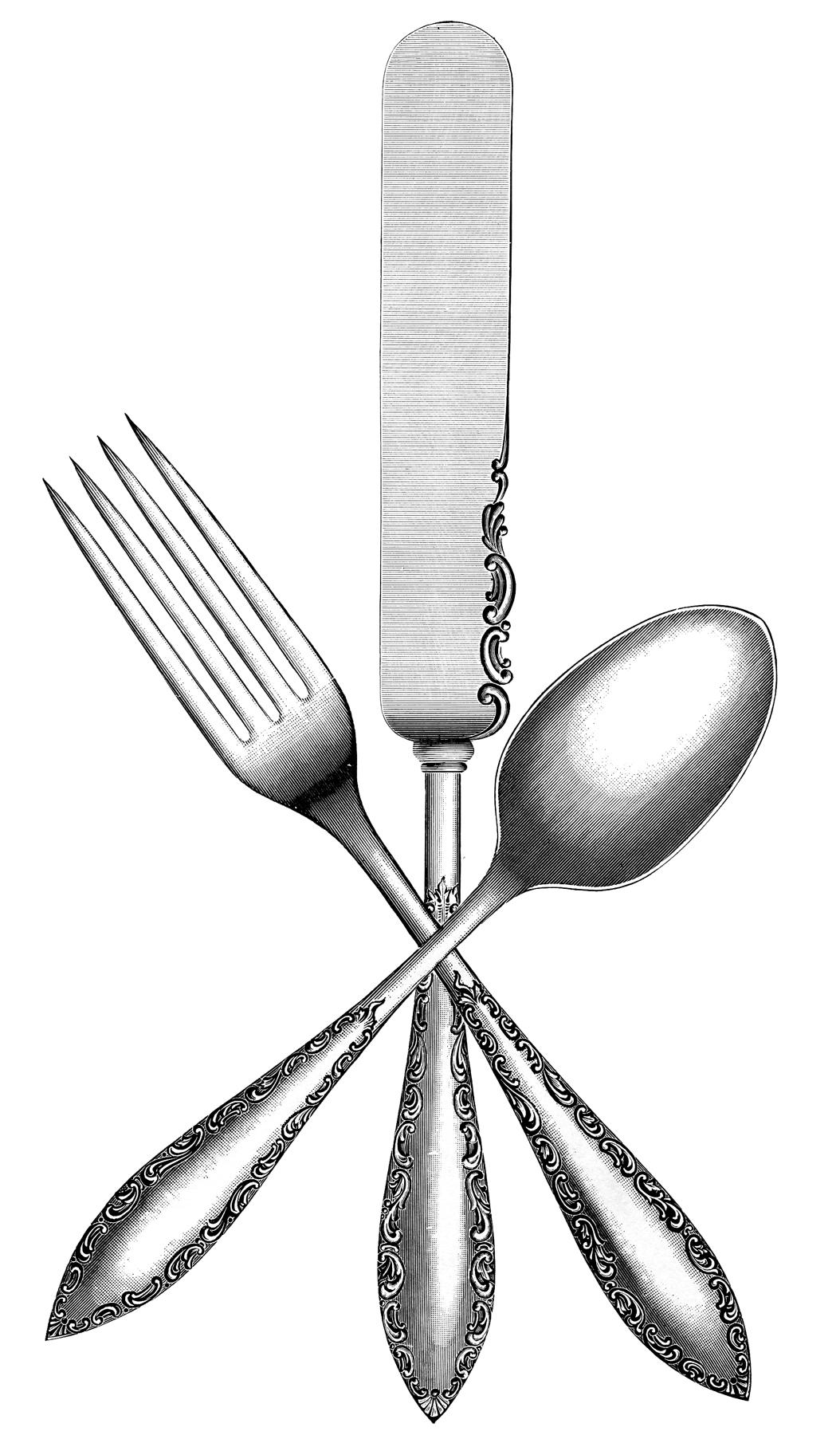Вилка, нож и ложка - черно-белая винтажная гравюра