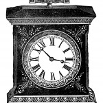 Каминные часы - винтажный черно-белый рисунок