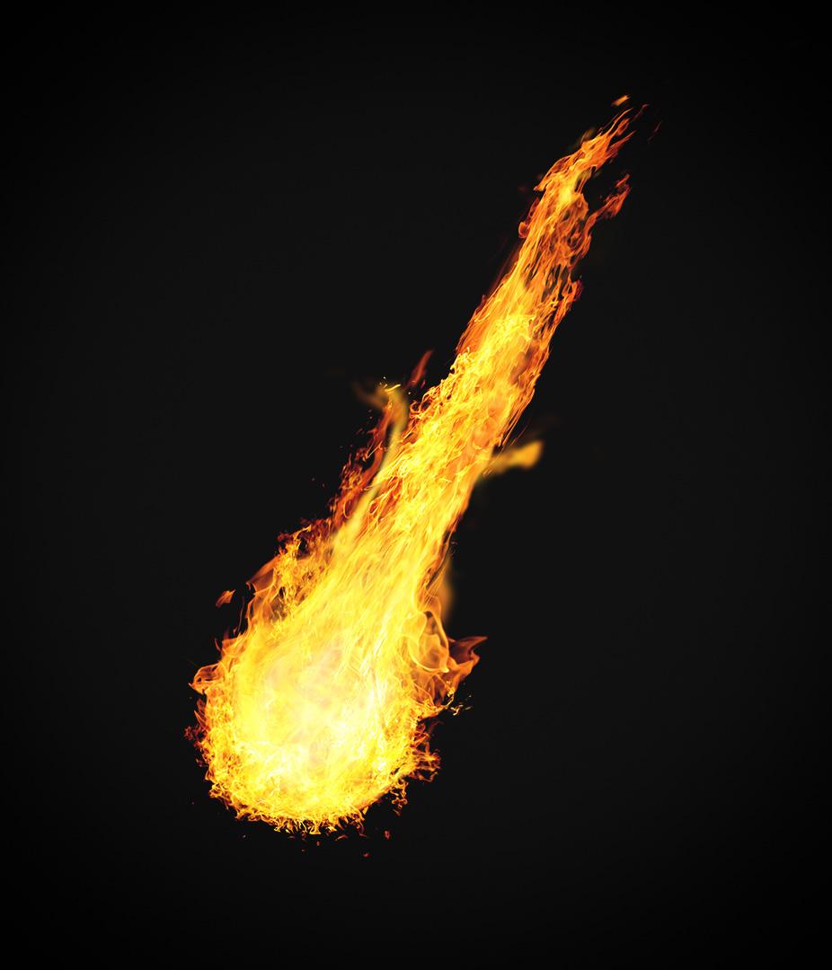 огненный метеор в формате png с прозрачным фоном