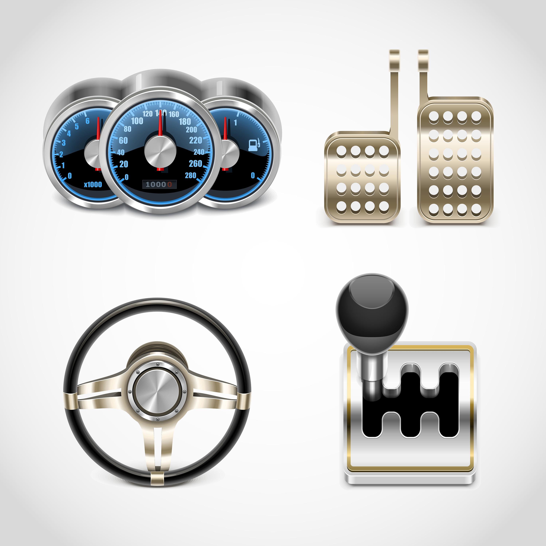 спидометр, педали, руль,КПП