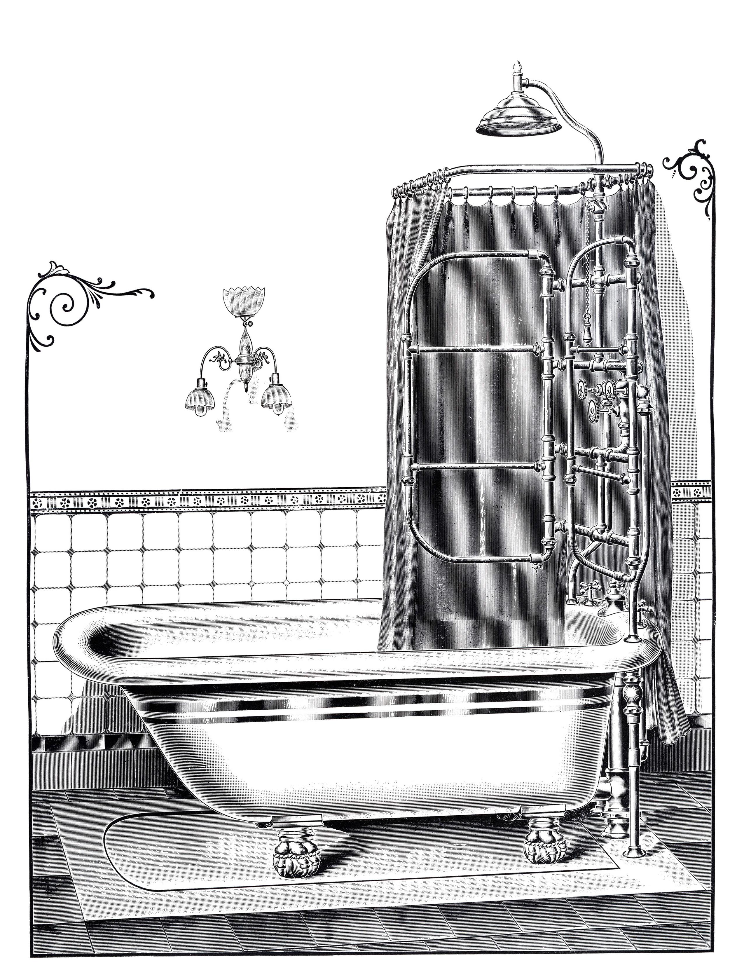 Винтажные ванна с душем