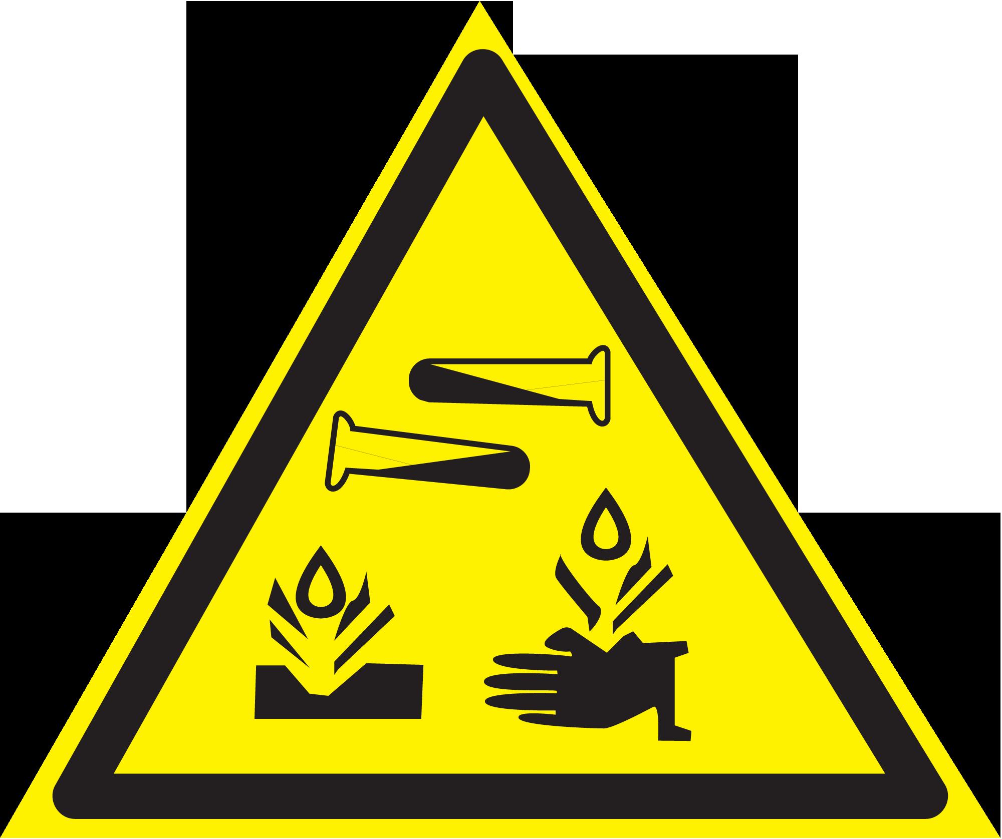 """Векторный знак """"Опасно. Едкие и коррозионные вещества"""" W 04."""