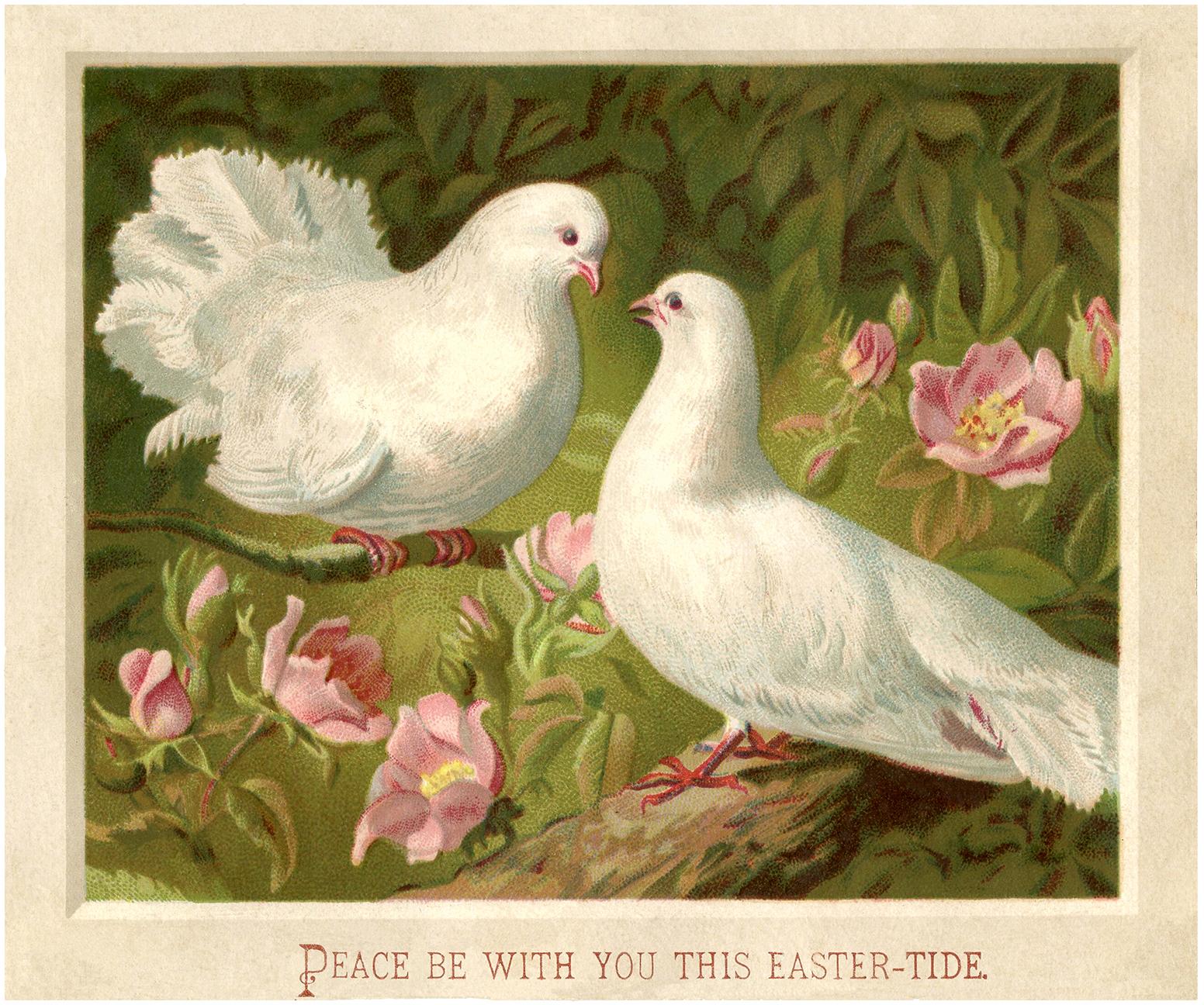 Белые голуби - пасхальная открытка
