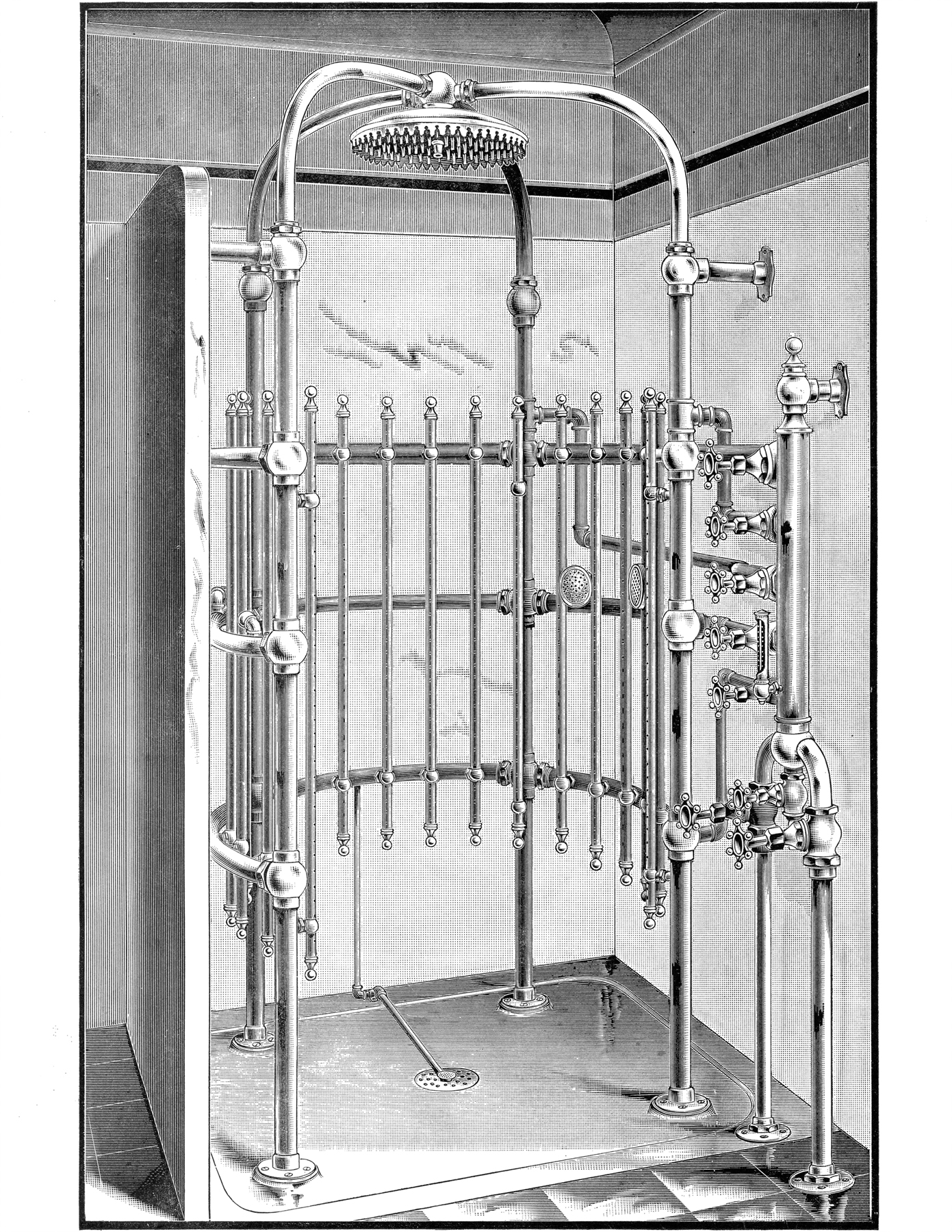 Душевая система конца 19 века - черно-белый рисунок