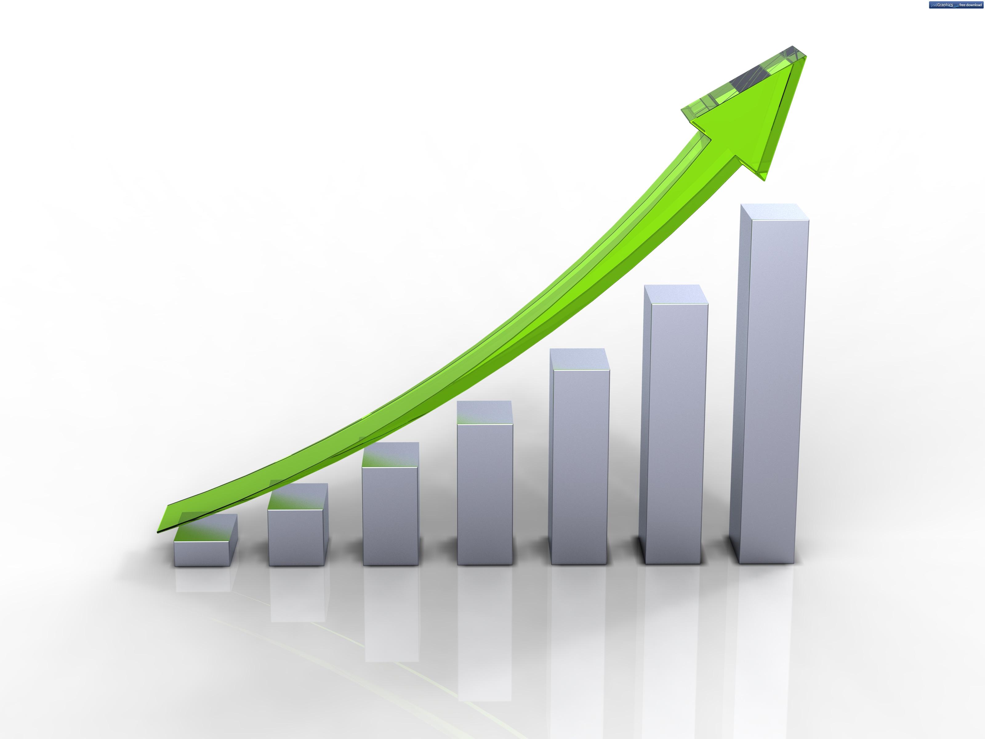 Зеленый бизнес-график идущий вверх - изображение с высоким разрешением