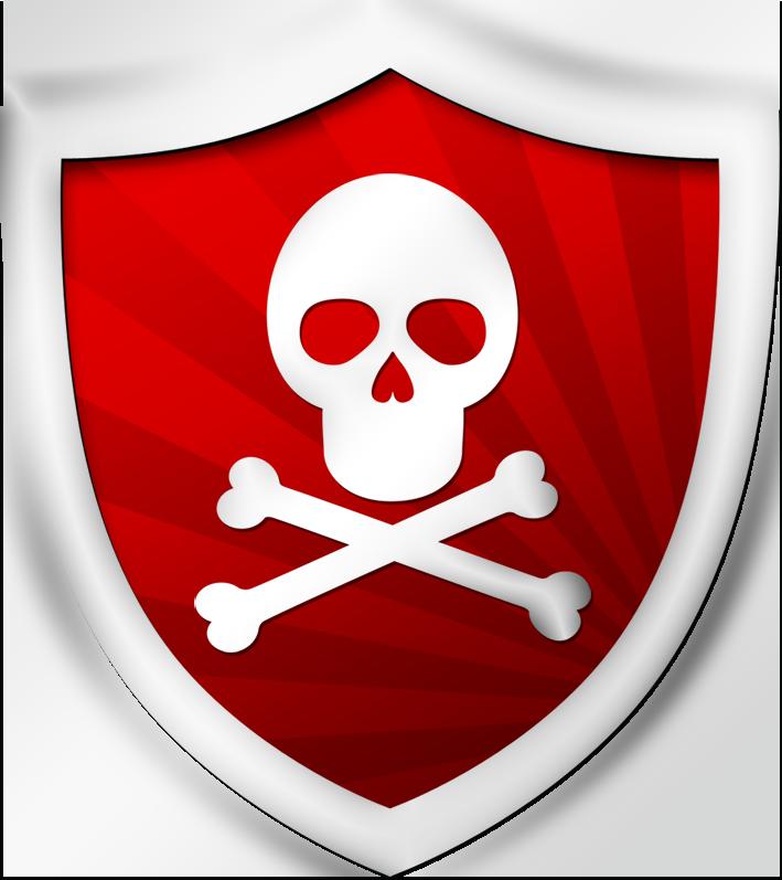 Красный щит с изображением черепа - икнока