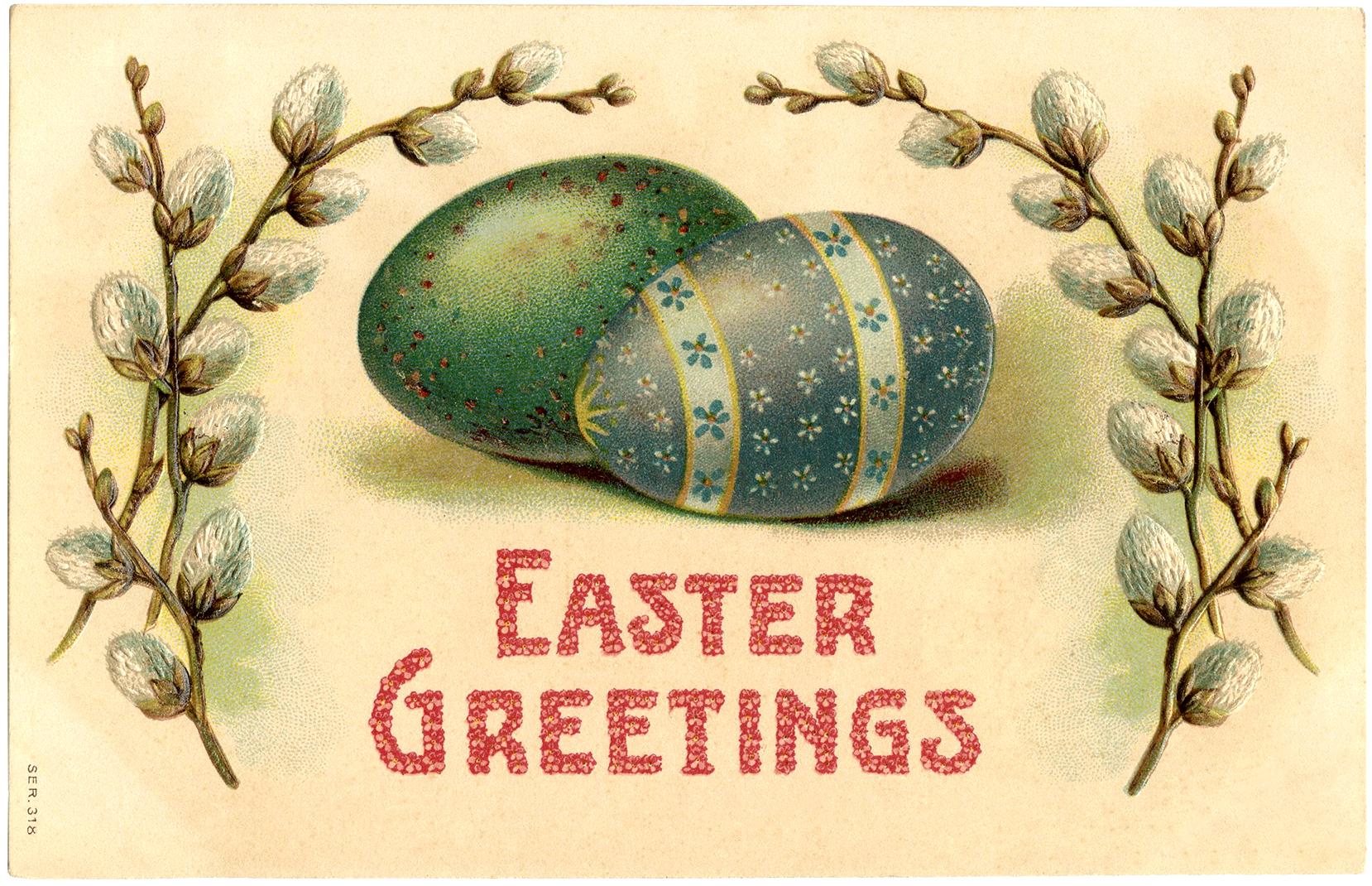 Винтажная пасхальная открытка с изображением крашенных яиц и вербы