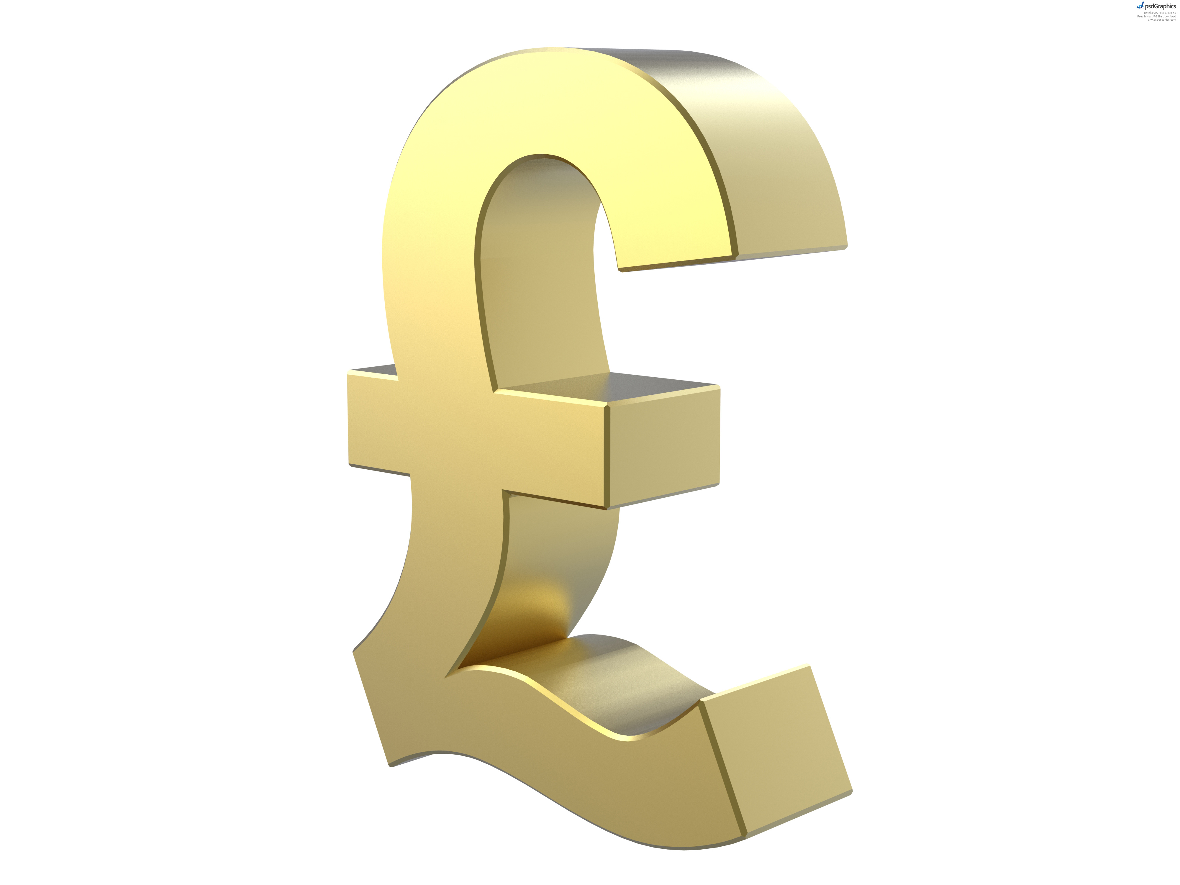 Изображение 3D золотого символа фунта стерлингов