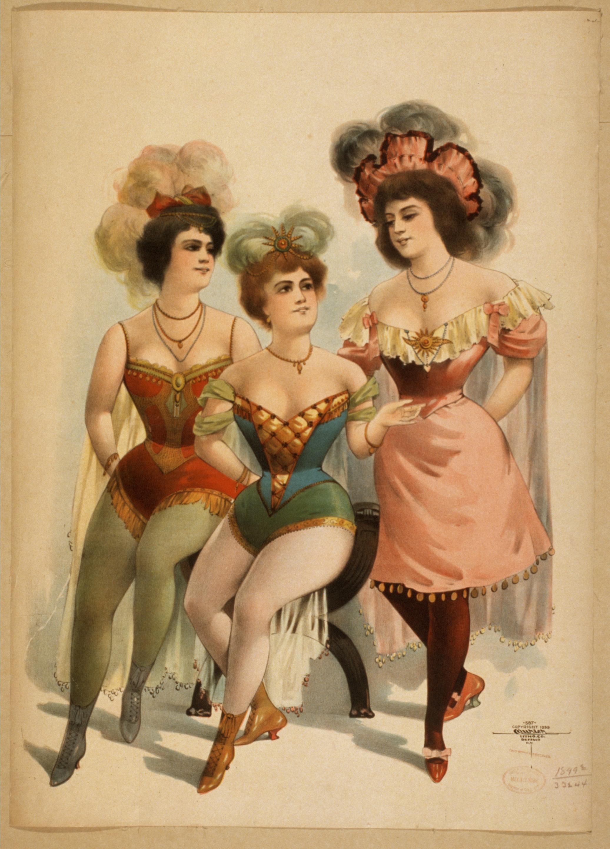 Три дамы - рисунок конца 19 века (1899 год)