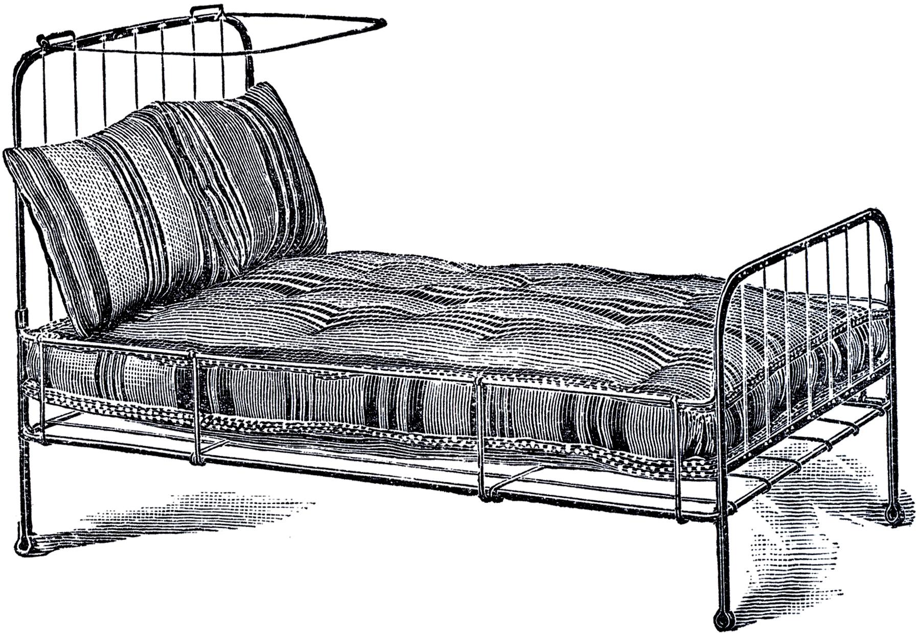 Железная кровать (постель) - винтажный рисунок