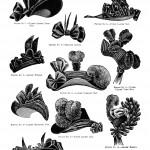 Женские головные уборы (шляпы) конца 19 века - черно-белый рисунок