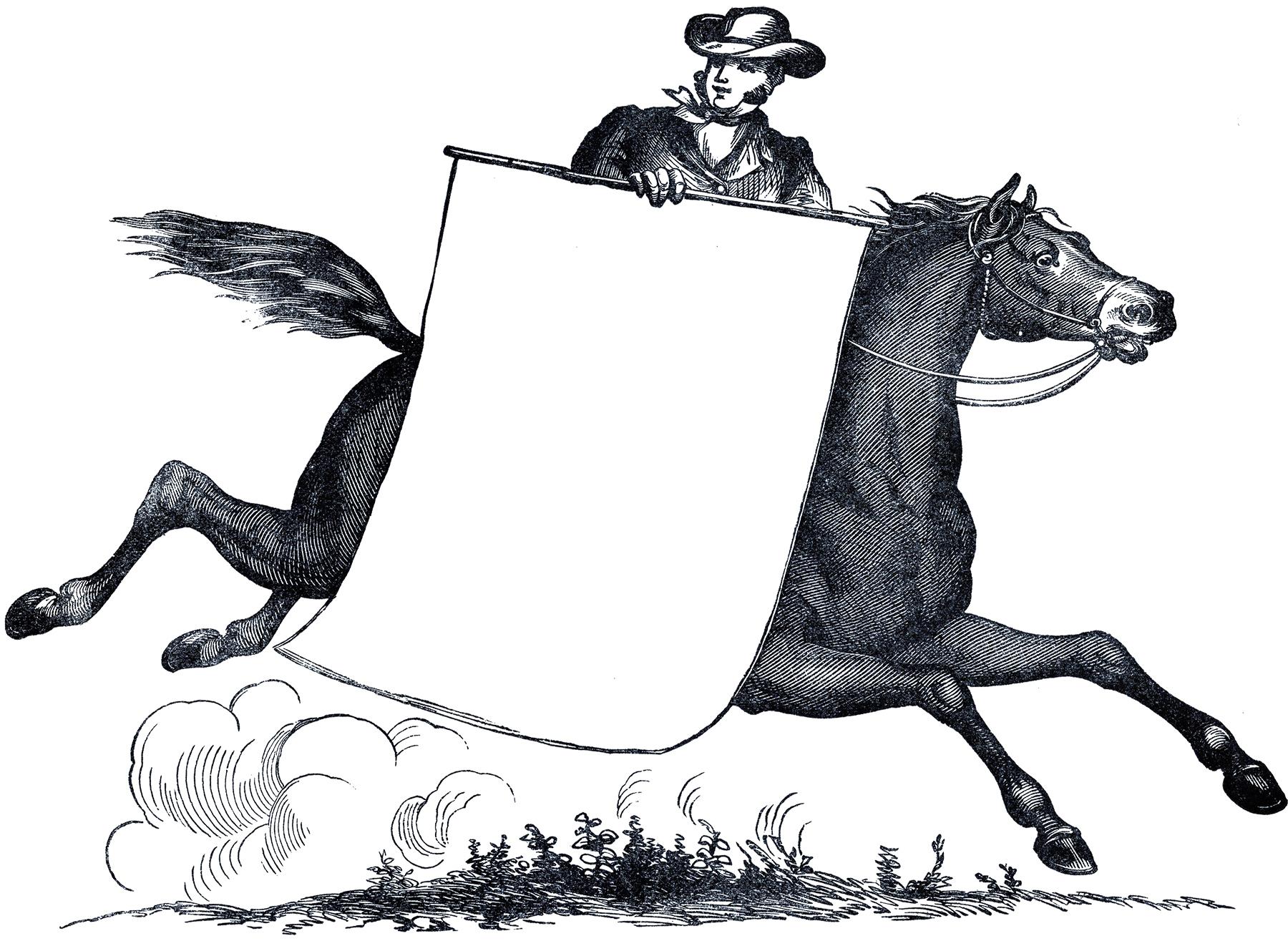 Всадник с плакатом - винтажный черно-белый рисунок