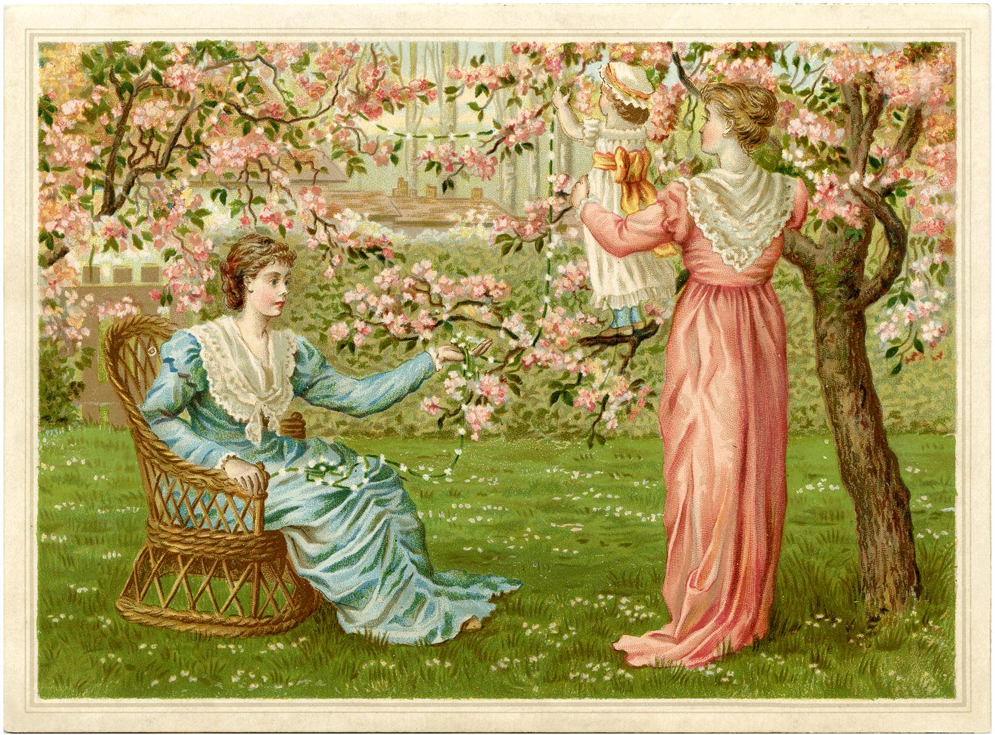 Девушки в цветущем саду - винтажная (старая) открытка