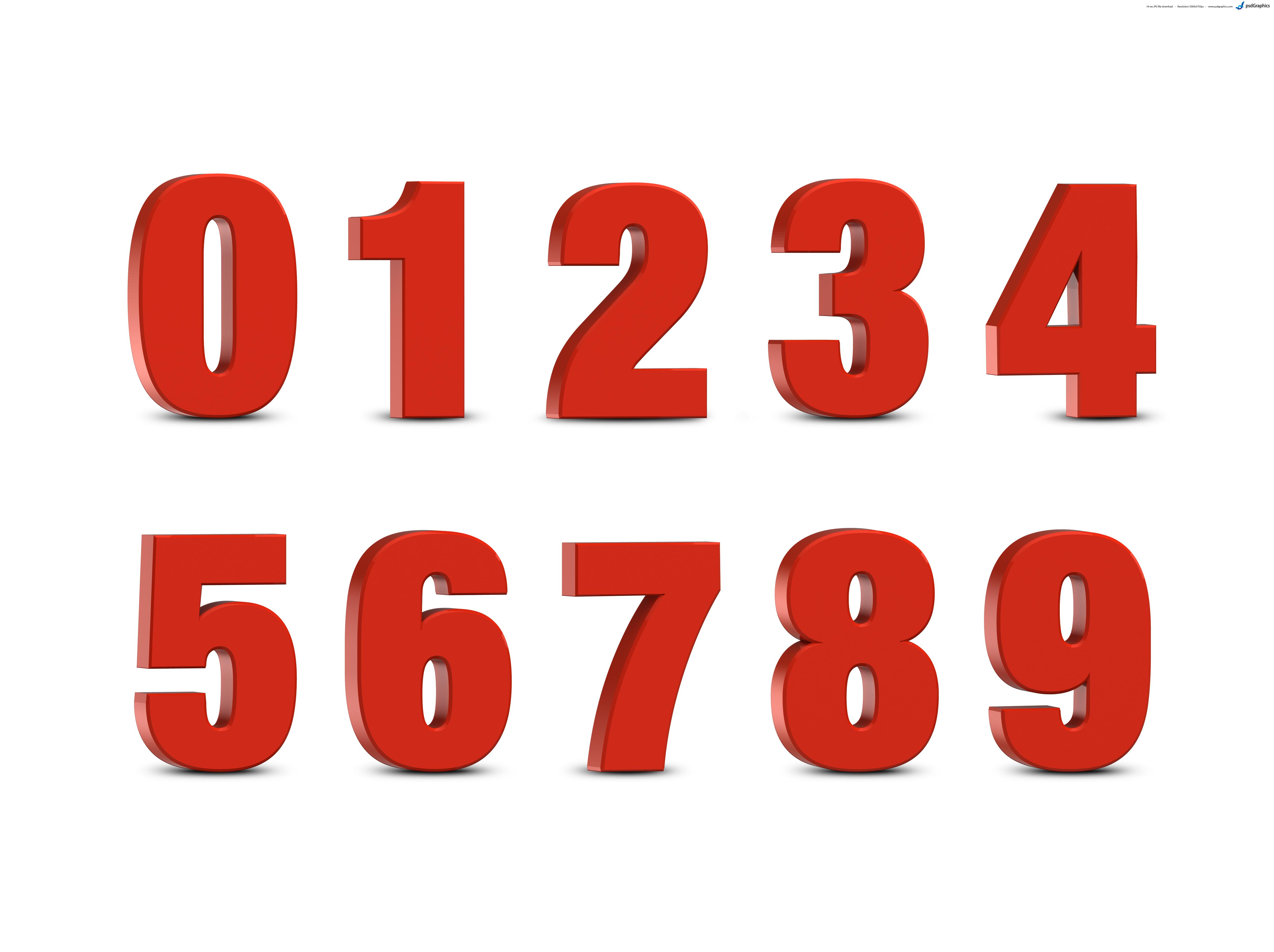 3D цифры (трехмерные) красного цвета с большим разрешением