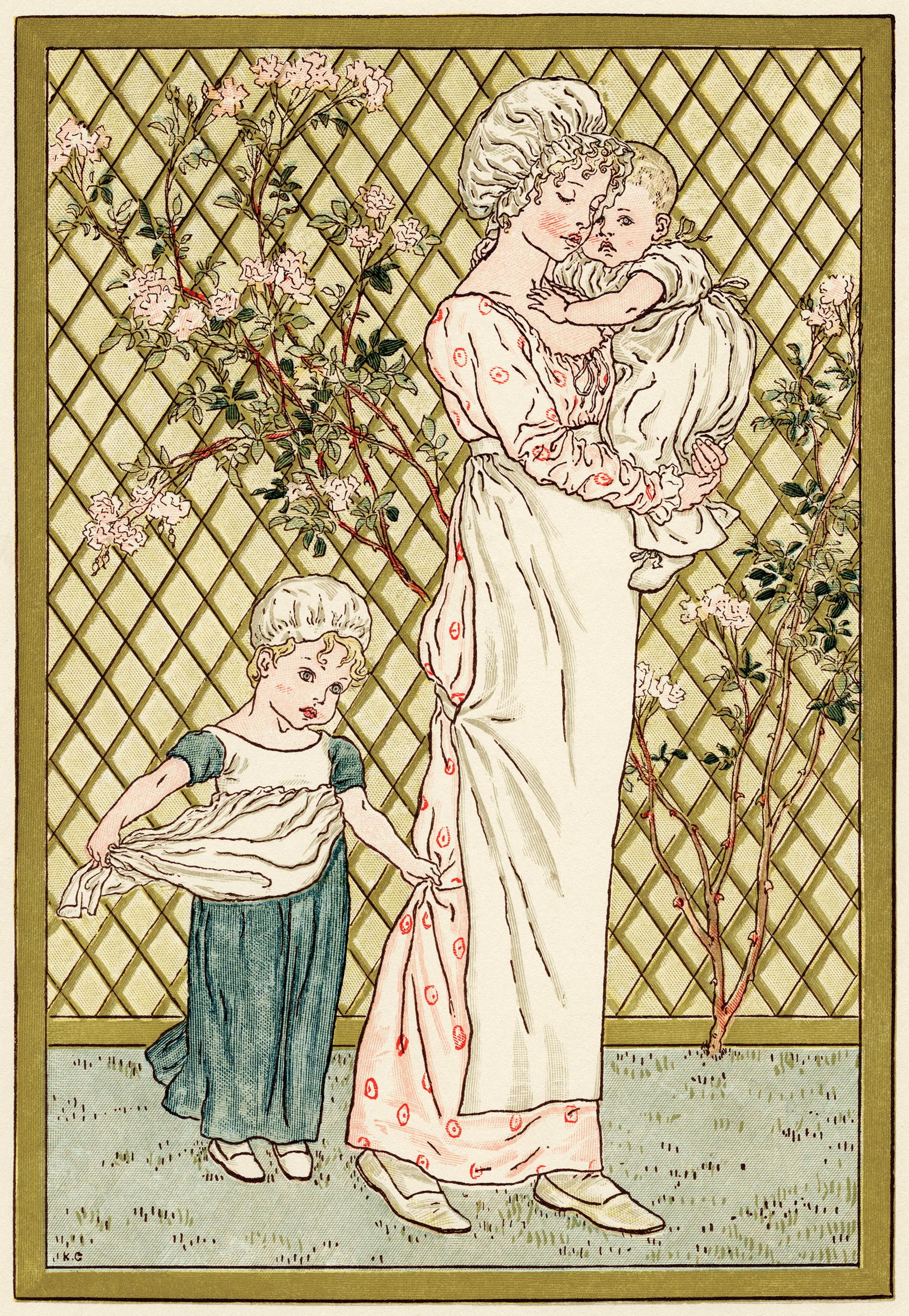 Мать и дети Кейт Гринуэй - рисунок с изображением матери и двух детей