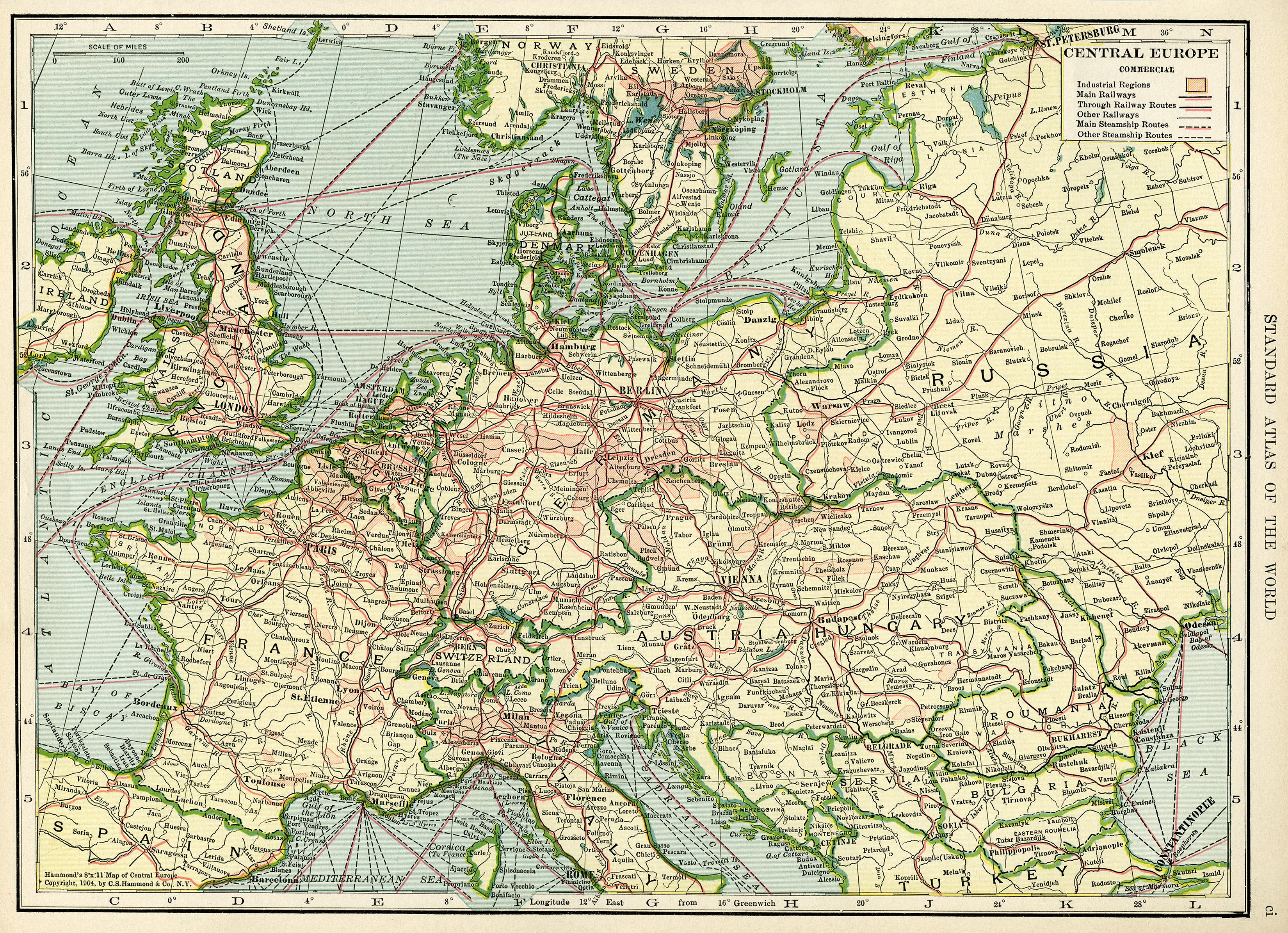 Старая карта Европы (1906 год) с большим разрешением
