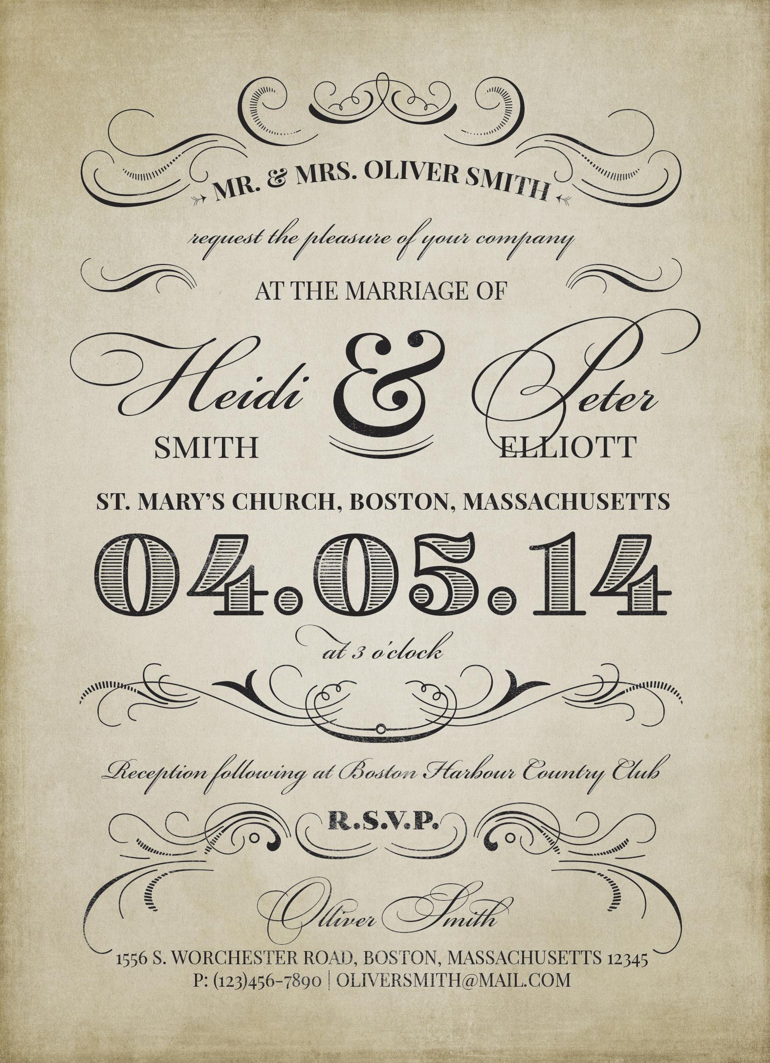 Приглашение на свадьбу в винтажном стиле в формате psd