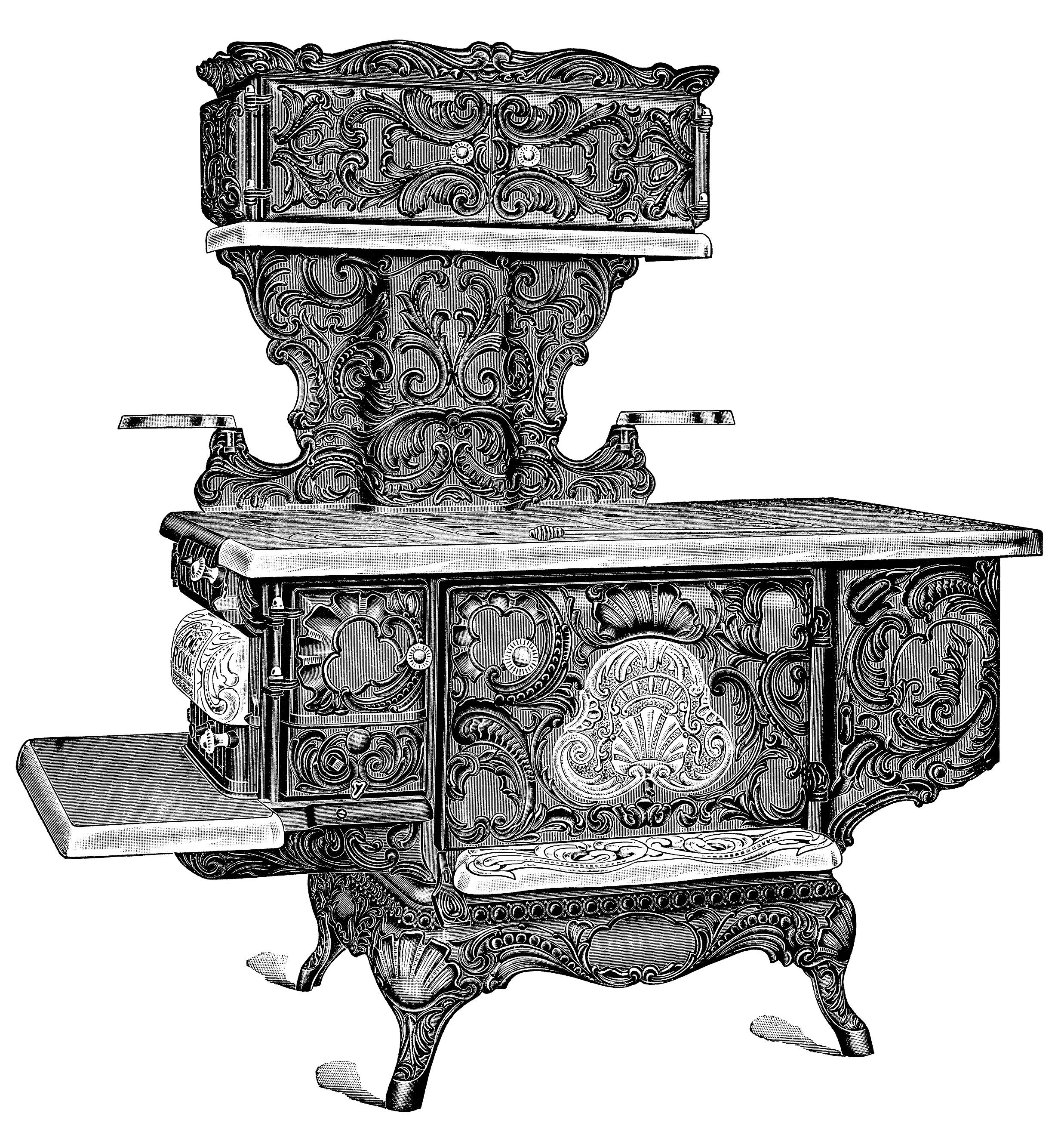 Рисунок с изображением изысканной чугунной дровяной плиты (печи)