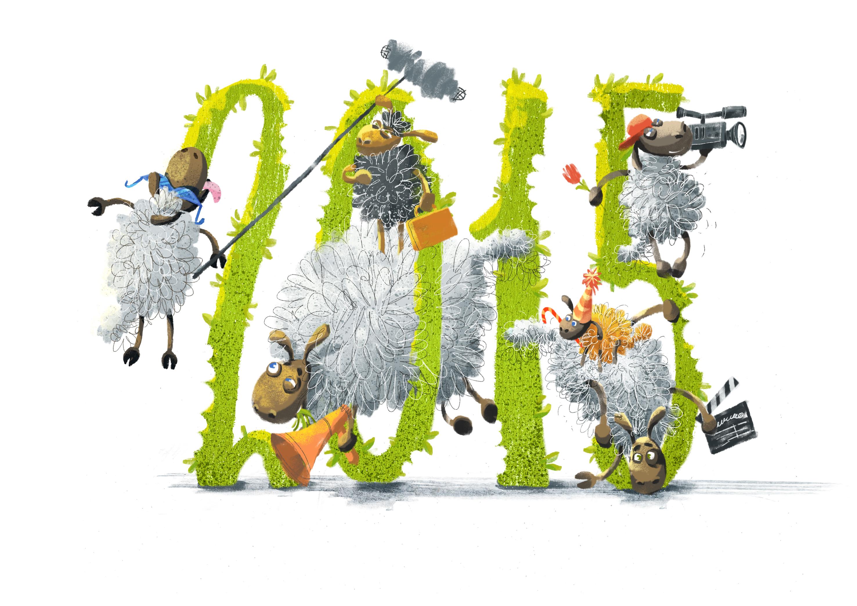 2015 - новогодняя смешная картинка на рабочий стол с овцами-киношниками